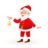 Carácter plano de Santa Claus aislado en el fondo blanco El viejo hombre divertido derecho está sosteniendo la bola amarilla de l Imagenes de archivo