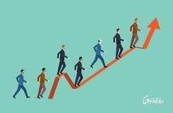 Carácter plano mínimo de los ejemplos del concepto del éxito empresarial stock de ilustración