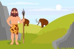 Carácter prehistórico del hombre de las cavernas en la piel animal que sostiene la lanza, ejemplo natural del vector del paisaje  stock de ilustración