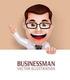 Carácter profesional del hombre de negocios que sostiene el papel en blanco blanco ilustración del vector