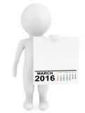 Carácter que sostiene calendario marzo de 2016 Foto de archivo