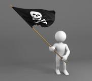Carácter que sostiene la bandera del símbolo del cráneo y de los huesos Imagen de archivo
