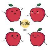Carácter rojo de la manzana de la historieta divertida con diversas emociones en la cara Etiquetas engomadas cómicas del emoticon Imágenes de archivo libres de regalías