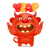 Carácter rojo del emoji del diablo de la historieta divertida pequeño con título del yeap Fotografía de archivo libre de regalías