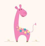 Carácter rosado lindo de la jirafa para el sitio del bebé ilustración del vector