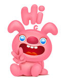 Carácter rosado lindo del emoticon de la historieta del conejito stock de ilustración