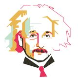 Carácter simple del vector de Albert Einstein Fotos de archivo libres de regalías