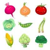 Carácter-sistema lindo 2 de las verduras stock de ilustración
