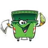 Carácter sonriente feliz del cubo de la basura del verde de la historieta de la cara con el gabadg Fotos de archivo libres de regalías