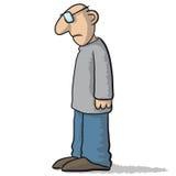 Carácter triste y deprimido stock de ilustración