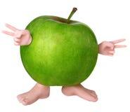 Carácter verde de la manzana Imagenes de archivo