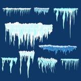 Carámbano del vector y clipart de los elementos de la nieve Diverso casquillo de la nieve Fotos de archivo