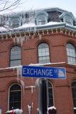 Carámbanos en la calle del intercambio, Portland, YO Fotografía de archivo libre de regalías