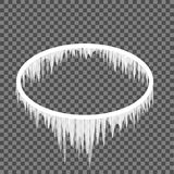 Carámbanos que cuelgan de un marco oval Imagen de archivo libre de regalías