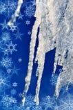 Carámbanos y copos de nieve del invierno de la textura del fondo Imagen de archivo libre de regalías