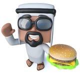 caráter árabe do xeique dos desenhos animados 3d engraçados que guarda um petisco do cheeseburger Imagem de Stock