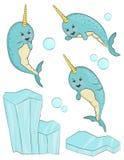 Caráter adorável dos peixes do narval ilustração royalty free