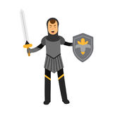 Caráter amed medieval do cavaleiro que está com protetor e espada, ilustração colorida ilustração do vetor