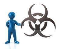 Caráter azul do homem que guarda o símbolo do biohazard Imagem de Stock Royalty Free