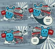 Caráter azul dos grafittis no estilo japonês. Imagem de Stock