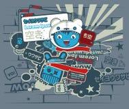 Caráter azul dos grafittis no estilo japonês Fotografia de Stock Royalty Free