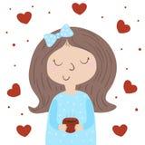 Caráter bonito da moça Vector a ilustração lisa, menina bonito com copo Vector a menina no fundo branco, corações cor-de-rosa Pro Imagem de Stock