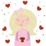 Caráter bonito da moça Vector a ilustração lisa, menina bonito com copo Vector a menina no fundo branco, corações cor-de-rosa Pro Fotos de Stock