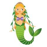 Caráter bonito da sereia com a alga no cabelo Estilo dos desenhos animados Ilustração do vetor ilustração do vetor