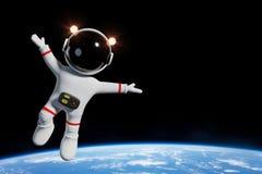Caráter bonito do astronauta dos desenhos animados na órbita da ilustração da terra 3d do planeta Fotos de Stock Royalty Free