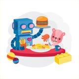 Caráter bonito do brinquedo A boneca do robô e do urso tem o almoço ilustração do projeto-vetor do caráter Imagem de Stock Royalty Free
