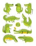Caráter bonito do crocodilo em etiquetas criançolas das poses diferentes Imagem de Stock