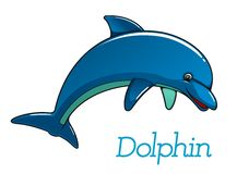 Caráter bonito do golfinho dos desenhos animados ilustração royalty free