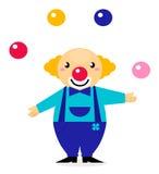 Caráter bonito do palhaço do jugglery dos desenhos animados Foto de Stock Royalty Free