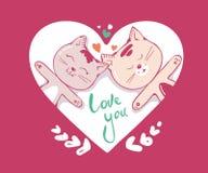 Caráter bonito dos gatos no amor com corações e rotulação do texto da caligrafia imagens 3d isoladas no fundo branco Ilustração t ilustração stock