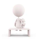 Caráter branco com situação de seu bebê Imagem de Stock
