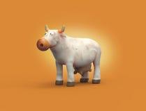 caráter branco da vaca do plasticine dos desenhos animados 3D Fotografia de Stock