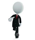 Caráter branco do homem de negócios com pose de corrida Imagem de Stock