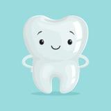 Caráter branco saudável bonito do dente dos desenhos animados, ilustração do vetor do conceito da odontologia de crianças ilustração do vetor