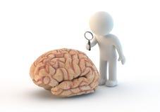 Caráter branco um cérebro Foto de Stock