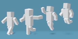 Caráter cúbico em quatro poses diferentes ilustração do vetor