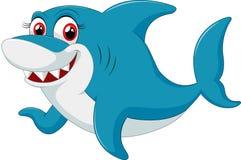 Caráter cômico do tubarão no fundo branco Imagem de Stock Royalty Free