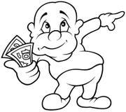 Caráter com dinheiro Foto de Stock Royalty Free