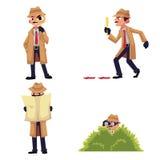 Caráter com lupa, disfarce do detetive, espiando de um arbusto ilustração do vetor