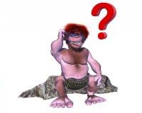 Caráter confuso do homem das cavernas 3d com um ponto de interrogação sobre sua cabeça Foto de Stock Royalty Free