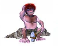 Caráter confuso do homem das cavernas 3d que senta-se em uma rocha Foto de Stock Royalty Free
