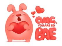 Caráter cor-de-rosa bonito do coelho que guarda o coração vermelho Cartão do Valentim do convite Imagens de Stock Royalty Free