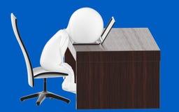 caráter 3d branco, cansado no local de trabalho ilustração royalty free