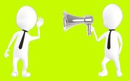 caráter 3d branco que escuta o hailer alto Imagem de Stock Royalty Free