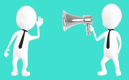 caráter 3d branco que escuta o hailer alto ilustração royalty free