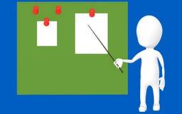 caráter 3d branco que guarda uma vara e que aponta a para uma placa verde com papéis fixados ilustração royalty free